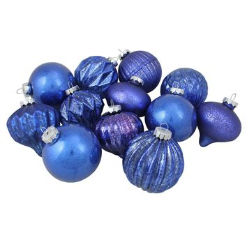 """12-Piece Blue Assorted Distressed Finish Glass Christmas Ornament Set 3.25"""" (80mm)"""