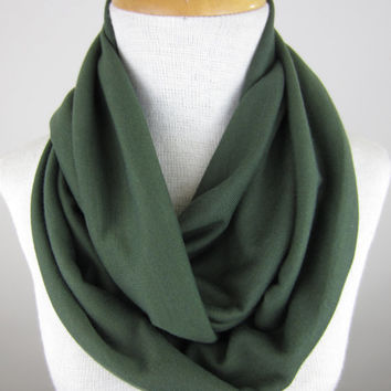 Forest Green Scarf - Dark Green Infinity Scarf - Green Chunky Scarf