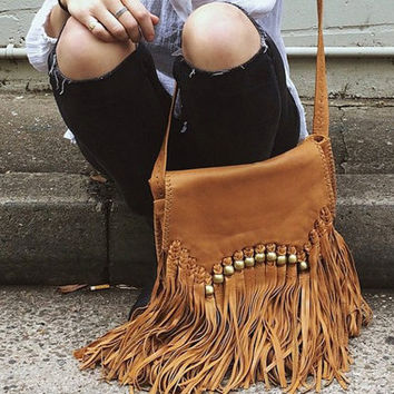 tan fringe bag | cross body bag |  fringe bag | leather fringe purse | leather tassel bag | tan leather bag | ladies purse