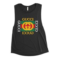 Distressed Vintage Gucci Inspired Women's Flowy Muscle Tank