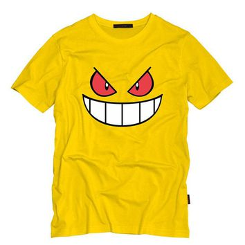 Anime Cartoon Gengar Adult Tshirt O Neck Top Tees Casual Short-Sleeved T-shirt Creative Men T Shirts