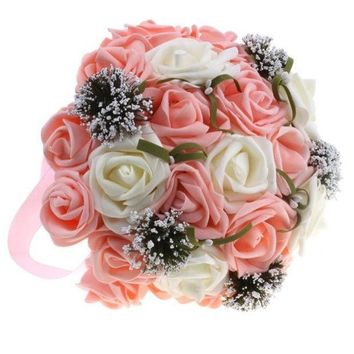 PEAPIX3 High Simulation White Rose Bridal Holding Flowers Bouquet Wedding Flower Decorations Valentine's Gift = 1932470916