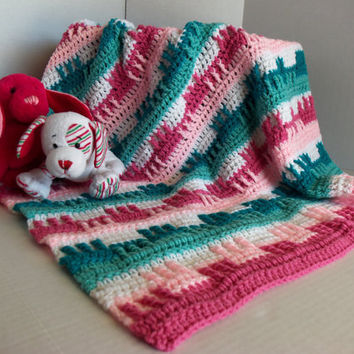 Baby Girl Teals and Pinks Afghan by SnugableTouches on Etsy