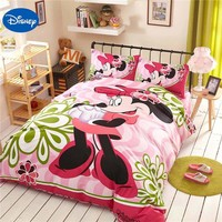 Cool Sweet pink minnie mickey mouse bed sheet set twin queen full king cotton beddings for princess girl baby gift linens pillow caseAT_93_12