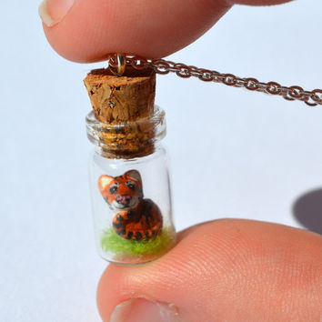 Terrarium Necklace/Tiger Spirt Animal/Bottle Necklace/Tiger Clay Totem