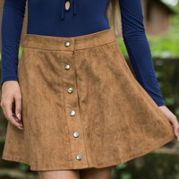 Fringe Crimson And Clover Camel Suede Skirt