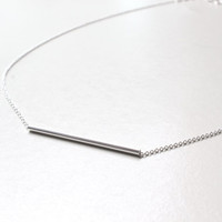 Sterling Silver Bar necklace, Silver Bar Necklace, Tube Bar necklace, Bar necklace, Silver Tube Bar Necklace, Minimalist Necklace