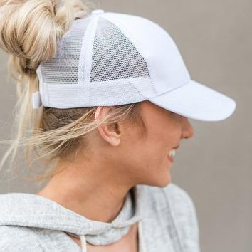 Messy Bun Baseball Hats - White