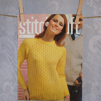 Vintage Stitchcraft Magazine 1960s Pattern Book including Knitting, Crochet, Embroidery, Rugmaking & Crafts May 1966 Summer Issue Holidays