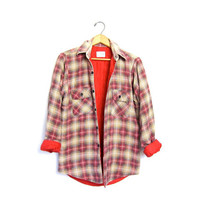 Grunge Flannel Shirt Lined Plaid Jacket Button Up Insulated Shirt Worn in Quilted Red Blue Coat. Thick Work Flannel Womens Small Medium