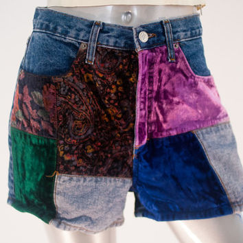 80s vintage denim patchwork shorts, high rise waist waisted 1990s 1980s 80s fashion clothing, summer spring 2014 retro retrofit urban