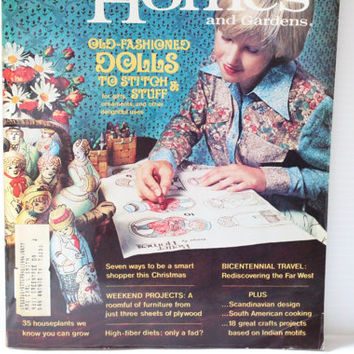 Better Homes and Gardens Old Fashioned Dolls to Stitch 1976 Vintage Magazine,paper ephemera,collectible,retro,vintage lifestyle,home keeping