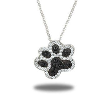 Sale Women Korean Creative Tiny Dog Claw Pendant Crystal Foot Necklace Jewelry