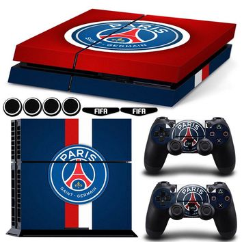 PARIS SAINT-GERMAIN Football Vinyl Protective PS4 Skin Sticker +4x Silicone Caps+2x LED Stickers For Playstation 4 Dualshock 4