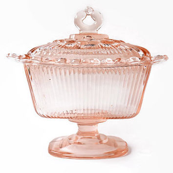 Pink Glass Candy Dish, Vintage Pressed Glass Covered Dish, Footed Dish with Cover, Pedestal Covered Light Pink Dish