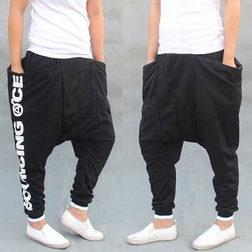 Low Crotch Leisure Streetwear Dance Harem Pants Men Sweatpants Big Pockets Cotton Hip Hop Joggers Pants