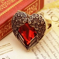 Lingstar(TM) Retro Bronze Red Heart Ring Vintage Palace Angel Wings Adjustable Sizes