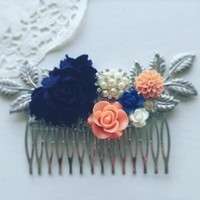 Olivia - Navy Blue Coral Wedding Hair Comb
