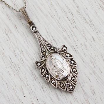 Antique Sterling Silver Virgin Mary Necklace - Vintage 1930s 1940s Catholic Marcasite Jewelry / Religious Pendant