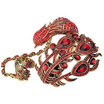 YACQ Jewelry Womens Crystal Peacock bangle bracelet attached slave ring bling jewelry