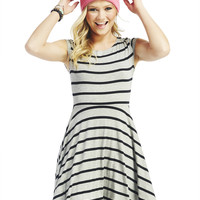 Striped Cap-Sleeve Skater Dress | Wet Seal