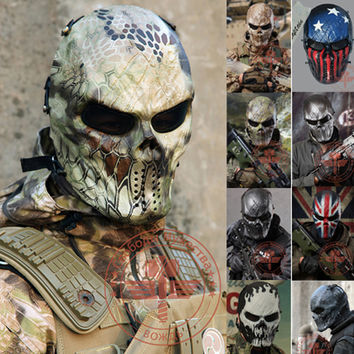 Camouflage Hunting Masks Wargame Paintball Motorcycle Airsoft Skull Full Face Mask