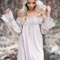 I Want it That Way Taupe Off Shoulder Lace Dress