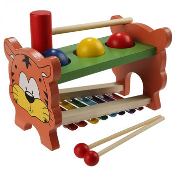 Baby Kids Wooden Educational Development Music Toy Pound Tap Table Knock Ball With Slide Out Xylophone Piano