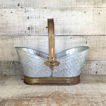 Basket Galvanized Metal and Brass Basket Metal Planter Galvanized Metal Basket Brass Planter Brass Grape Leaves Rustic Easter Basket