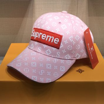 LV x Supreme Embroidered Baseball Cap Hat