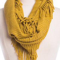 Ribbed Infinity Scarf, Mustard