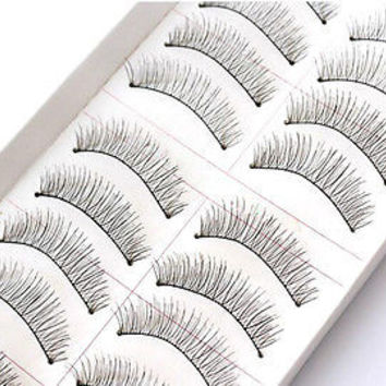 Hot 10 Pairs Makeup Handmade Natural Long False Eyelashes Eye Lashes Sparse