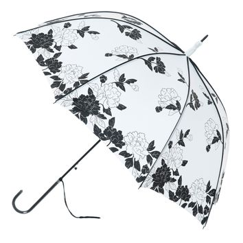 Vintage White and Black Leaves Umbrella