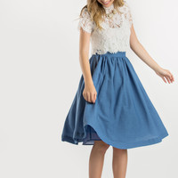 Robin Blue Flared Midi Skirt