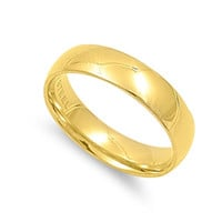 Unisex Stainless Steel Gold Plated Comfort Fit 5mm Wedding Band