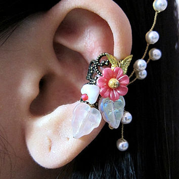 Pink Antique Gold Filigree Wrap Around Flowers Ear by aldesigns