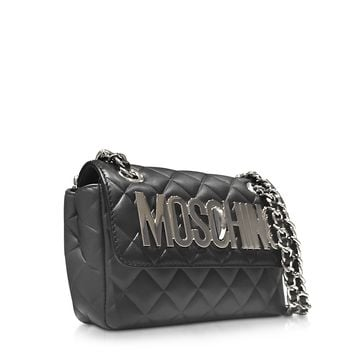 Moschino Black and Dark Gray Quilted Leather Shoulder Bag