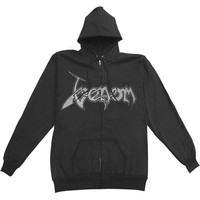 Venom Men's  Black Metal Zippered Hooded Sweatshirt Black Rockabilia