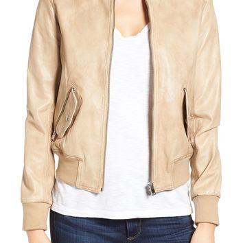 LAMARQUE Lambskin Leather Bomber Jacket | Nordstrom