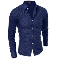 Long Sleeve Grid Button Up Shirt For Men