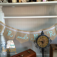 Mr and Mrs Burlap Banner for Weddings, Wedding, Burlap Banner