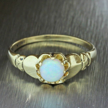 1880s Antique Victorian Estate 14k Solid Yellow Gold Opal Band Ring