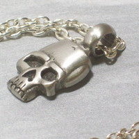Pewter Skull Necklace 30 inches Can adjust length by LizsWares