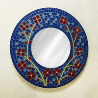 Ring of Flowers Mosaic Mirror