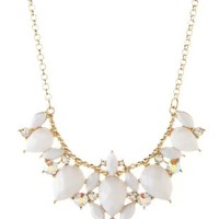 White Curved Faceted Stone Statement Necklace by Charlotte Russe