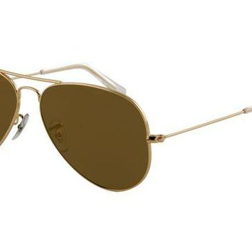 Ray Ban RB3025 Aviator Sunglasses Gold Frame Crystal Gold Mirror