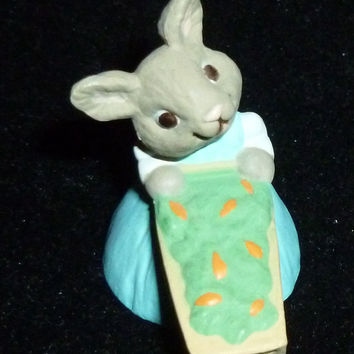 Hallmark Merry Miniature Girl Easter Bunny With Wheel Barrel Of Carrots Figurine