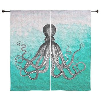 "OMBRE VINTAGE NAUTICAL OCTOPUS WATERC 60"" CURTAINS"