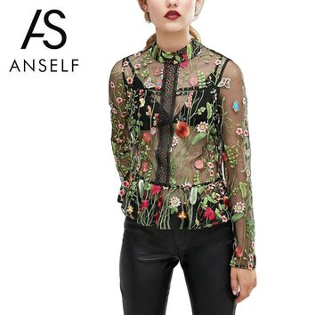 Fashion Summer Flower Embroidery Blouse Shirt Women Tops Long Sleeve Mesh Blouses Sexy Transparent Top Black