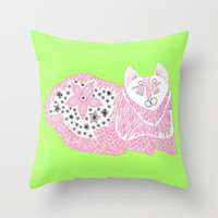 Pink Boho Cat Throw Pillow - Double Sided Throw Pillow - Faux Down Insert - Illustrated Pillow Cover